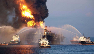 Deepwater Horizon Oil Rig Fire Fighting